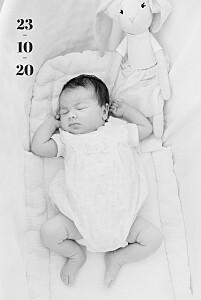 Faire-part de naissance garçon premier jour portrait blanc