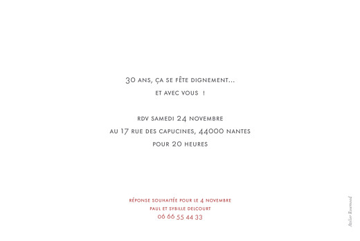 Carte d'invitation anniversaire adulte The photo blanc - Page 2