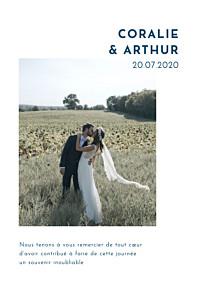 Carte de remerciement mariage original une belle histoire blanc