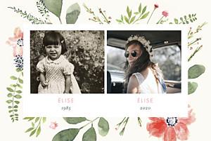 Carte d'invitation anniversaire adulte beige fleurs aquarelle 2 photos crème