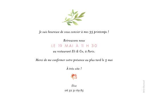 Carte d'invitation anniversaire adulte Fleurs aquarelle 2 photos crème - Page 2