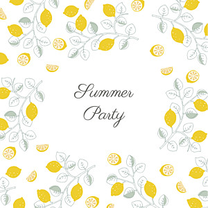 Carte d'invitation anniversaire adulte jaune citrons jaune