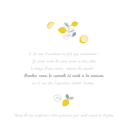 Carte d'invitation anniversaire adulte Citrons jaune - Page 3