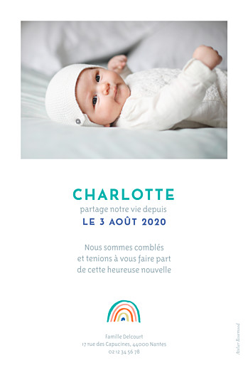 Faire-part de naissance Arc-en-ciel (portrait) bleu - Page 2
