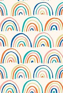 Carte de remerciement bleu petit arc-en-ciel photo beige