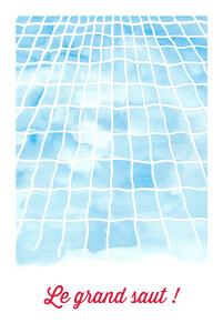 Carte d'invitation anniversaire adulte Le grand saut ! bleu