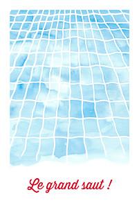 Carte d'invitation anniversaire adulte bleu le grand saut ! bleu