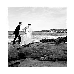 Carte de remerciement mariage champêtre promesse sur le sable (4 pages) blanc