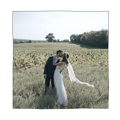 Carte de remerciement mariage Promesse champêtre (4 pages) blanc finition