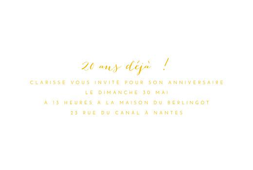 Carte d'invitation anniversaire adulte Mon invitation jaune - Page 3