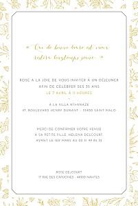 Carte d'invitation anniversaire adulte délicatesse jaune