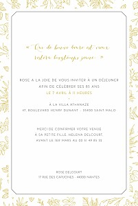 Carte d'invitation anniversaire adulte jaune délicatesse jaune