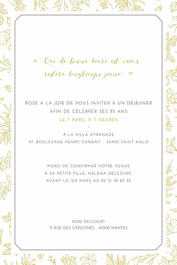 Carte d'invitation anniversaire adulte Délicatesse - Rosemood