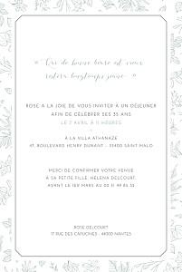 Carte d'invitation anniversaire adulte vert délicatesse vert