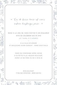 Carte d'invitation anniversaire adulte bleu délicatesse bleu