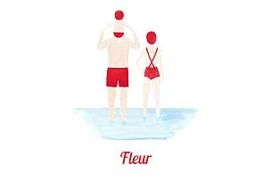 Faire-part de naissance marin le petit baigneur (1 enfant) clair