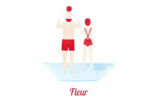 Faire-part de naissance Le petit baigneur (1 enfant) clair