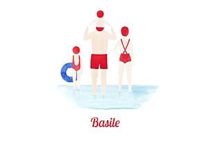 Faire-part de naissance marin le petit baigneur (2 enfants) clair