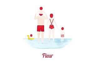 Faire-part de naissance marin le petit baigneur (3 enfants) clair