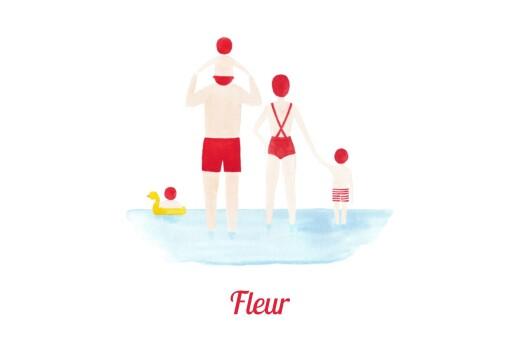 Faire-part de naissance Le petit baigneur (3 enfants) clair