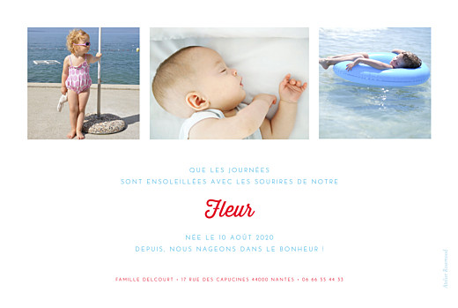 Faire-part de naissance Le petit baigneur (3 enfants) clair - Page 2
