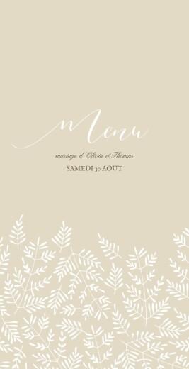 Menu de mariage Mille fougères (4 pages) beige