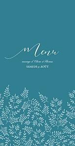 Menu de mariage bleu mille fougères (4 pages) bleu