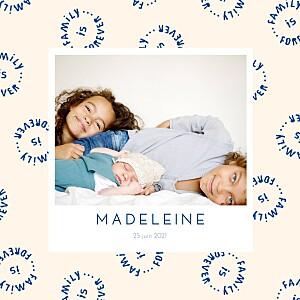 Faire-part de naissance bilingue family is forever beige