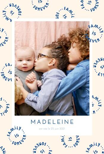 Faire-part de naissance Family is forever (portrait) beige