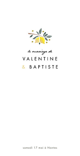 Menu de mariage Palermo rv blanc & jaune