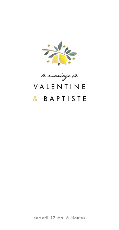 Menu de mariage Palermo rv blanc & jaune finition