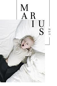 Faire-part de naissance avec photo caractère blanc