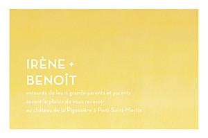 Carton d'invitation mariage jaune aquarelle jaune