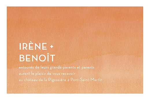 Carton d'invitation mariage Aquarelle orange
