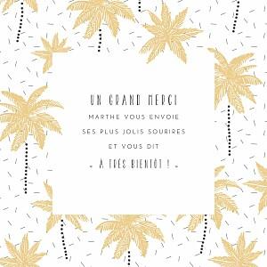 Carte de remerciement avec photo petits palmiers jaune