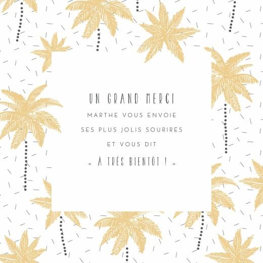 Carte de remerciement Petits palmiers jaune