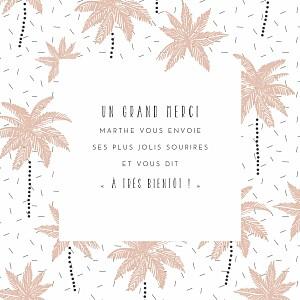 Carte de remerciement blanc petits palmiers rose