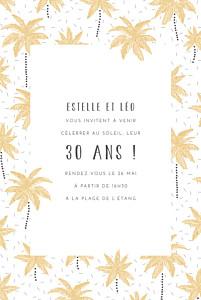 Carte d'invitation anniversaire adulte sans photo palmiers jaune
