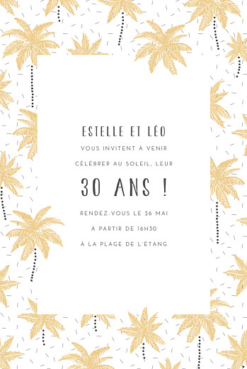 Carte d'invitation anniversaire adulte Palmiers jaune