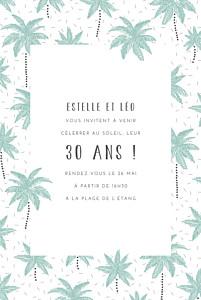 Carte d'invitation anniversaire adulte bleu palmiers vert