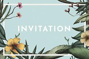Carton d'invitation mariage moderne fleurs des îles vert