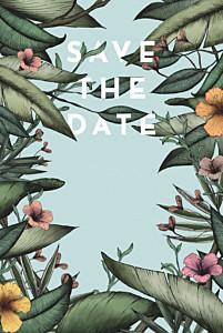 Save the date bleu fleurs des îles vert