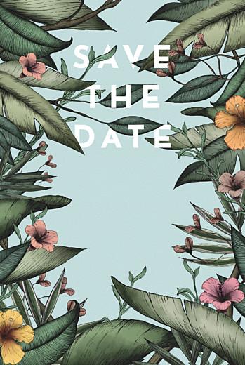 Save the Date Fleurs des îles vert