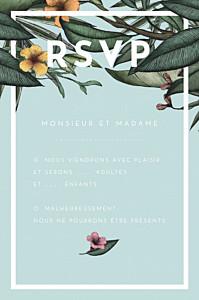 Carton réponse mariage vert fleurs des îles vert