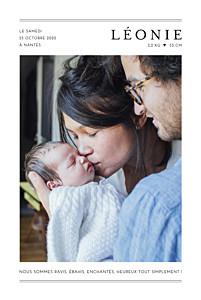 Faire-part de naissance blanc grand jour (portrait) blanc