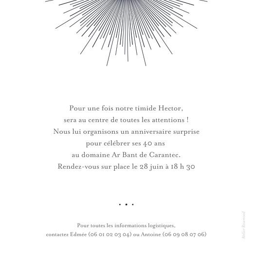 Carte d'invitation anniversaire adulte Lumière (dorure) bleu nuit - Page 2