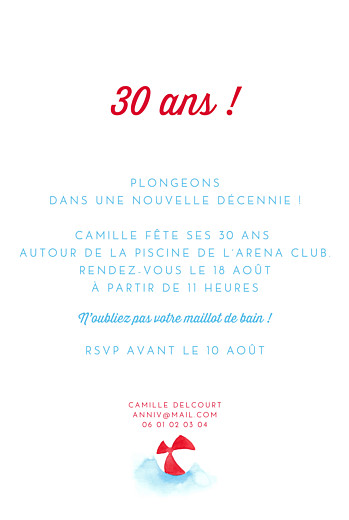 Carte d'invitation anniversaire adulte Le grand saut ! bleu - Page 2