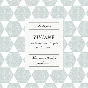 Carte d'invitation anniversaire adulte bleu toile de lin (4 pages) vert