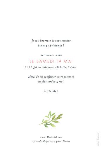 Carte d'invitation anniversaire adulte Fleurs aquarelle crème - Page 2