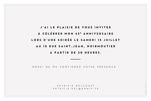 Carte d'invitation anniversaire adulte Ecusson chic blanc - Page 2